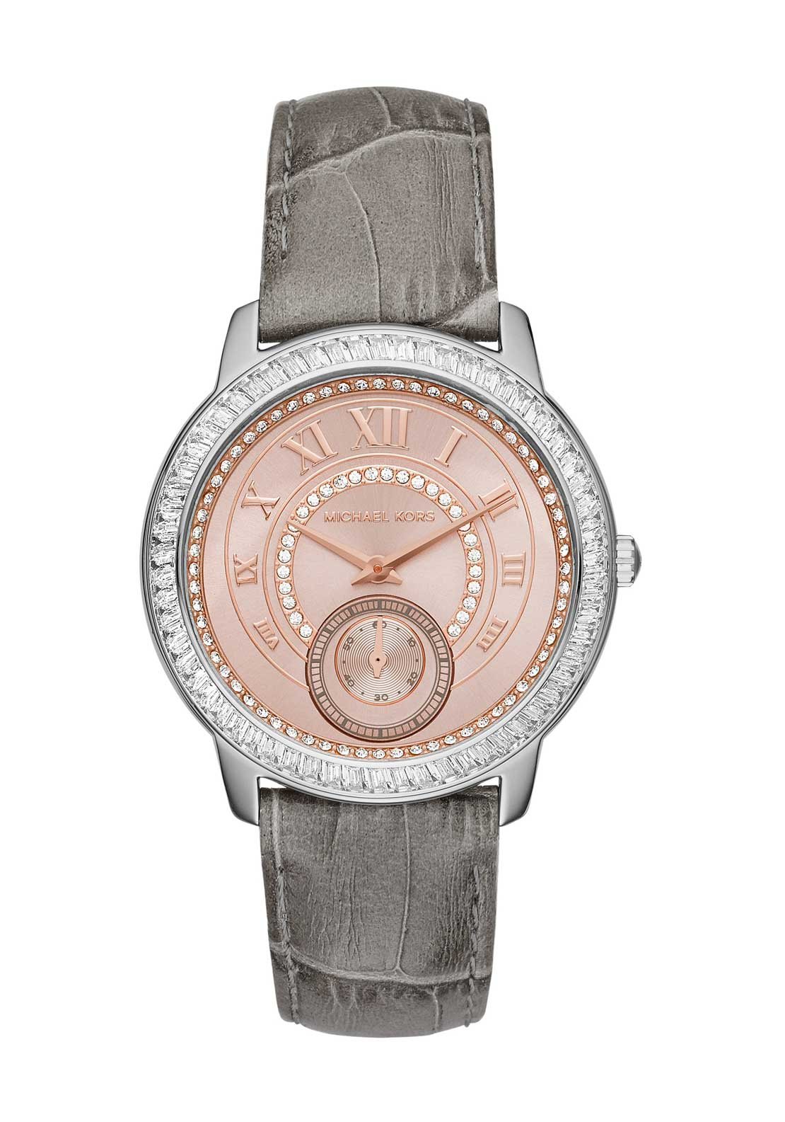 Michael Kors Womens Madelyn Diamante Embellished Leather Strap Watch, Nude