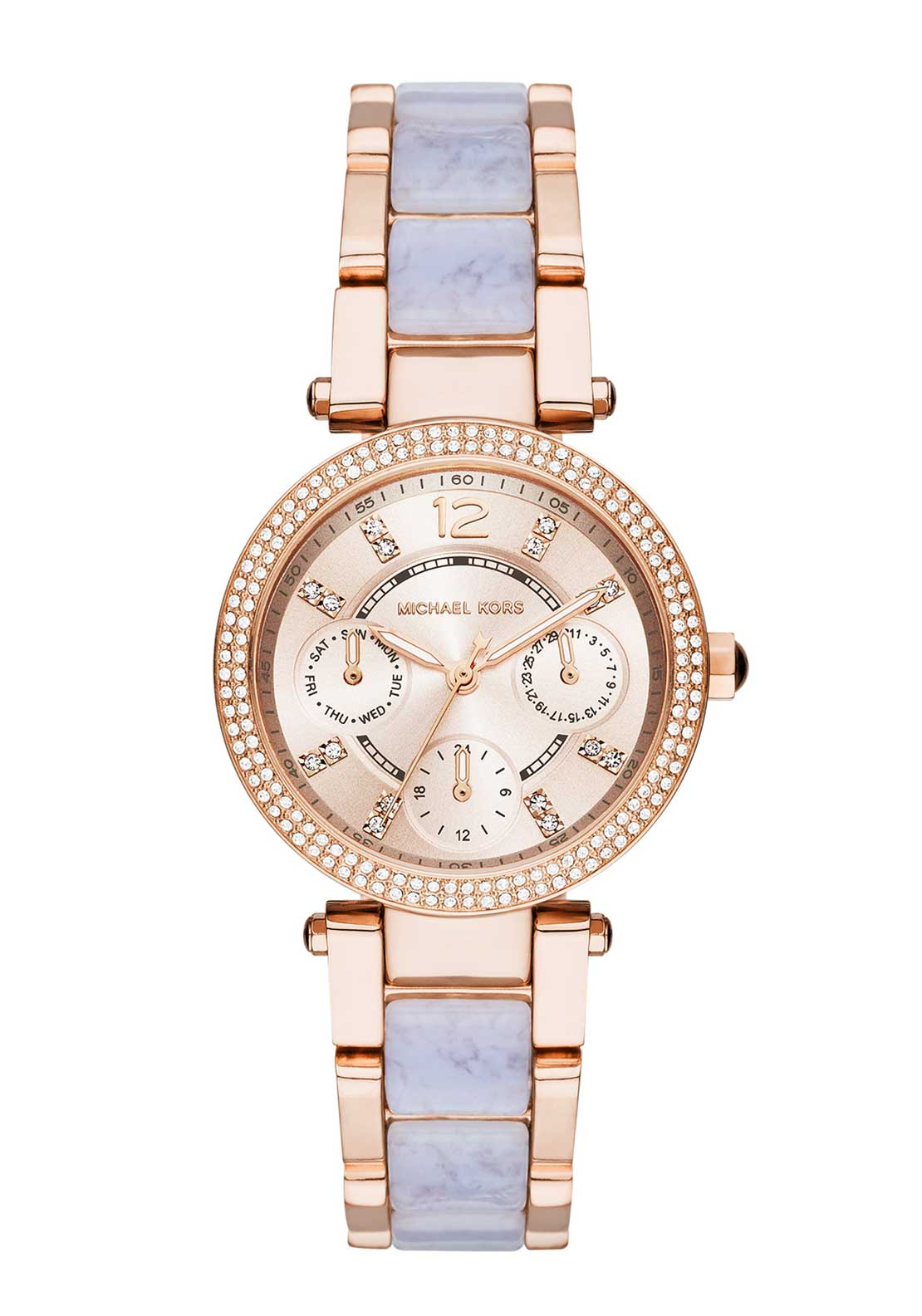 Michael Kors Womens Mini Parker Watch, Rose Gold and Lilac