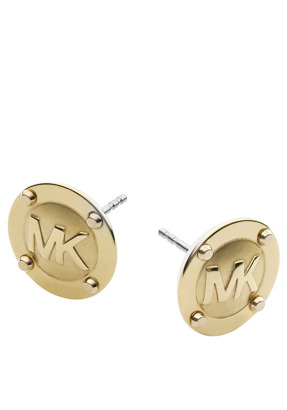 Michael Kors Womens Branded Button Stud Earrings, Gold