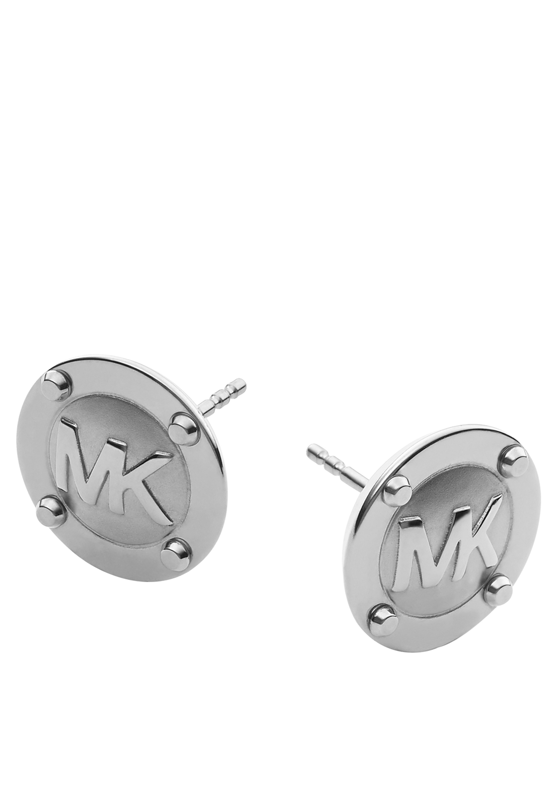 Michael Kors Womens Branded Button Stud Earrings, Silver