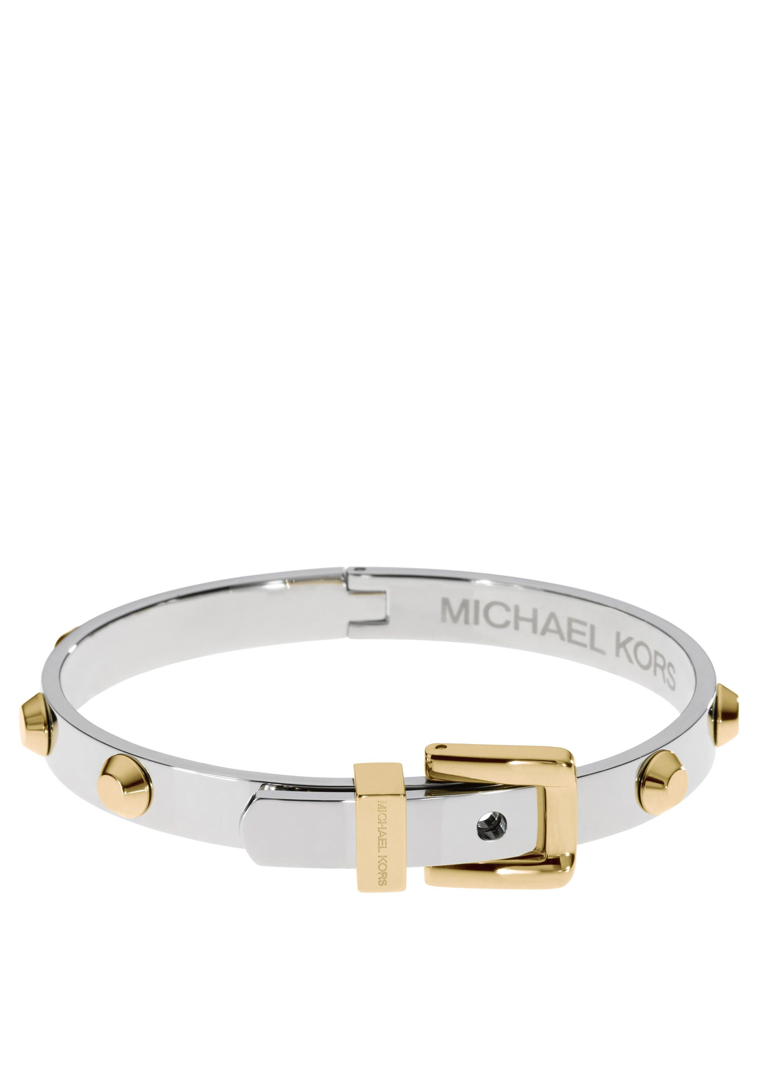 Michael Kors Womens Astor Stud Buckle Bangle, Silver