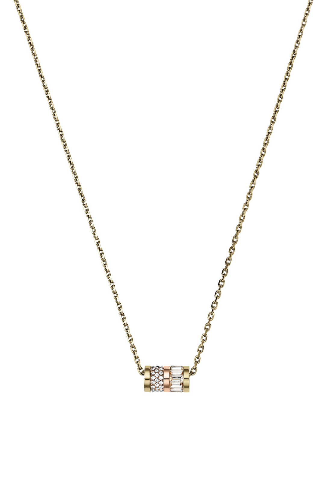 Michael Kors Womens Pave Barrel Pendant Necklace, Rose Gold