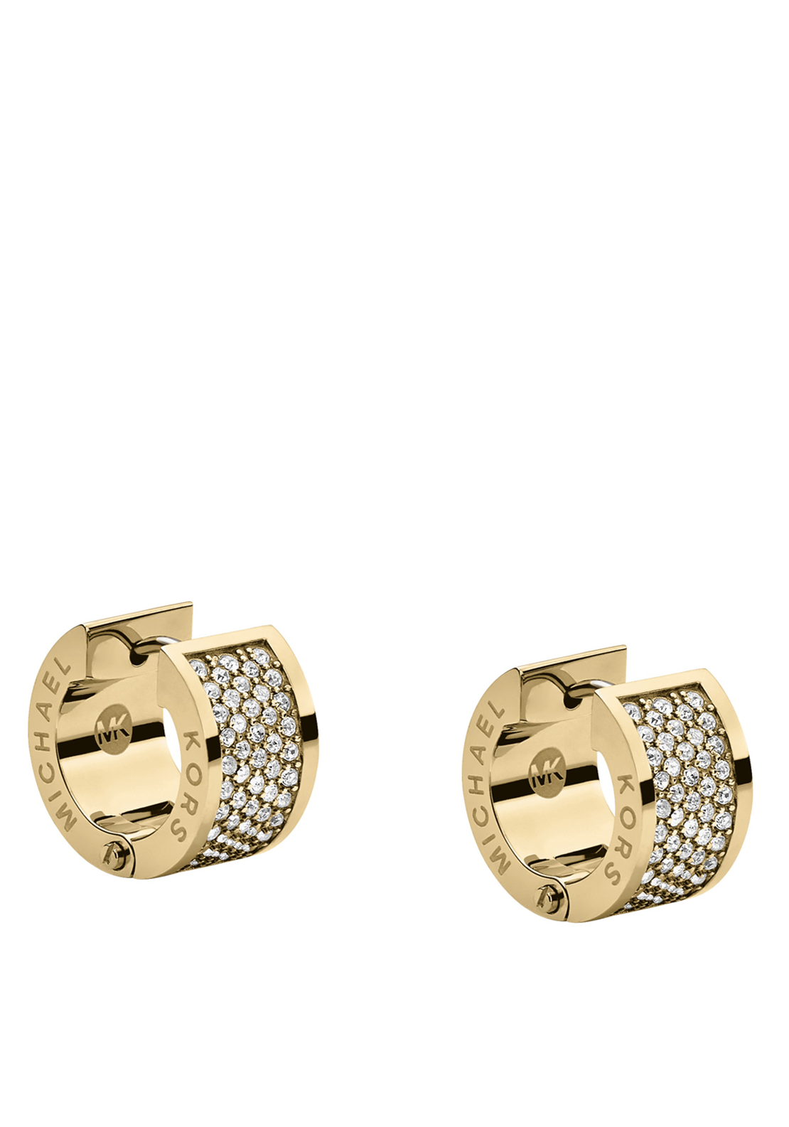 Michael Kors Womens Pave Stone Huggie Earrings, Gold