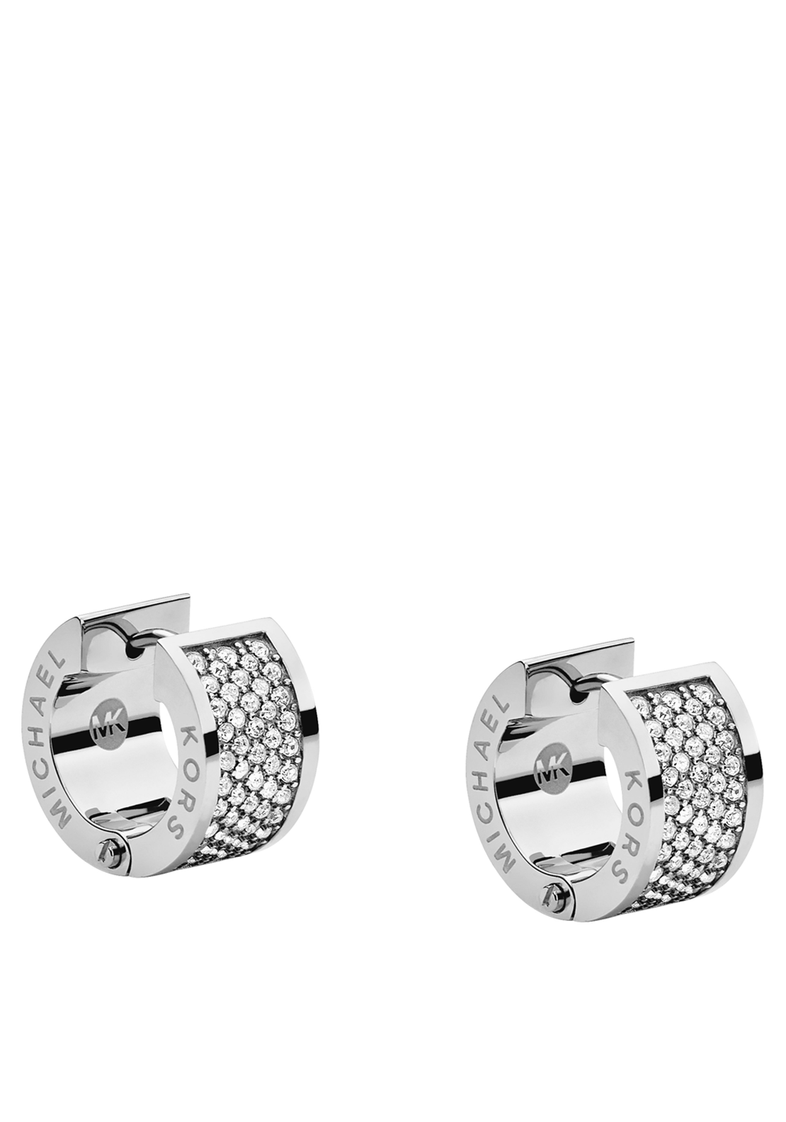 Michael Kors Womens Pave Stone Huggie Earrings, Silver