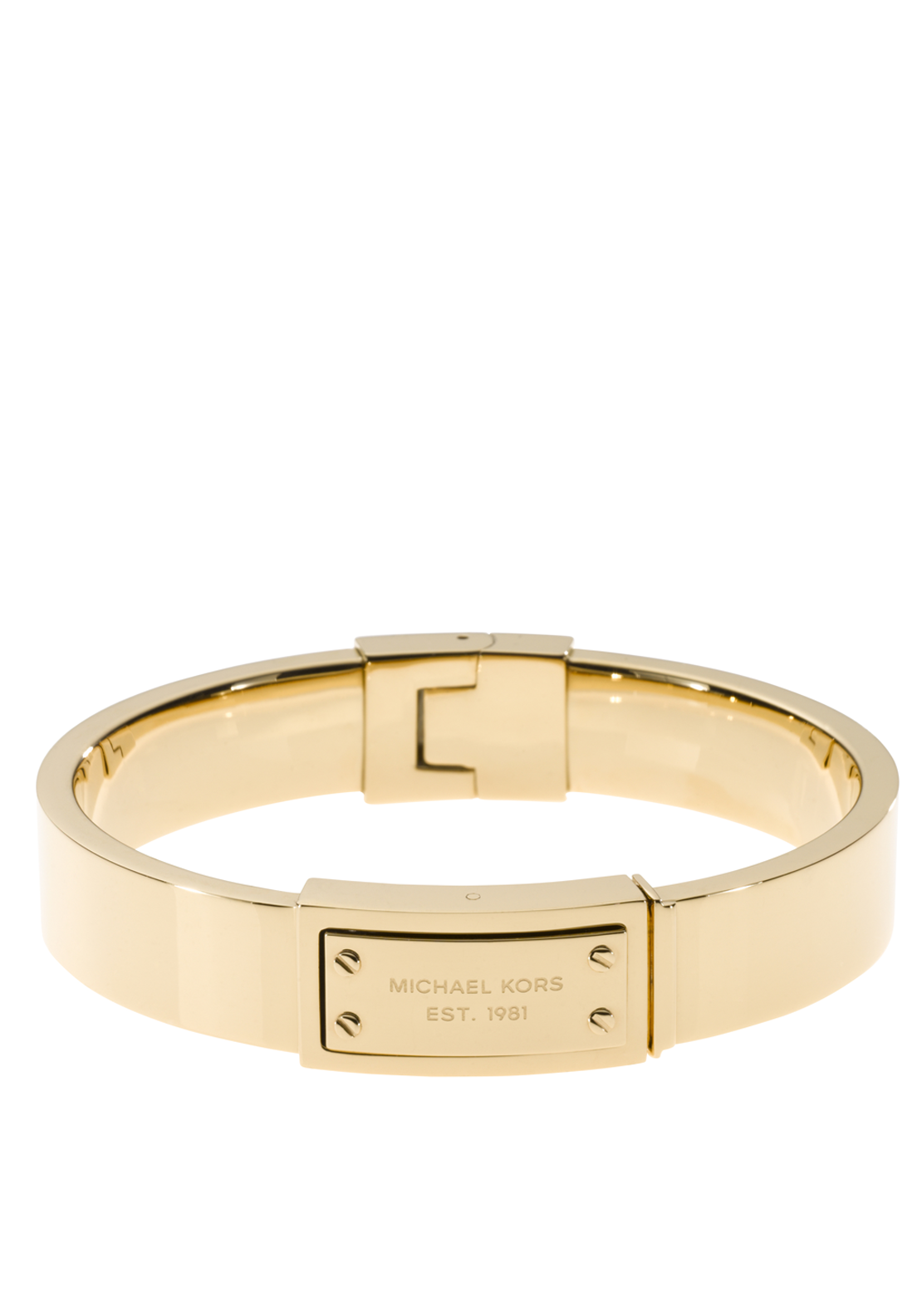 Michael Kors Womens Logo Plaque Hinge Bangle, Gold