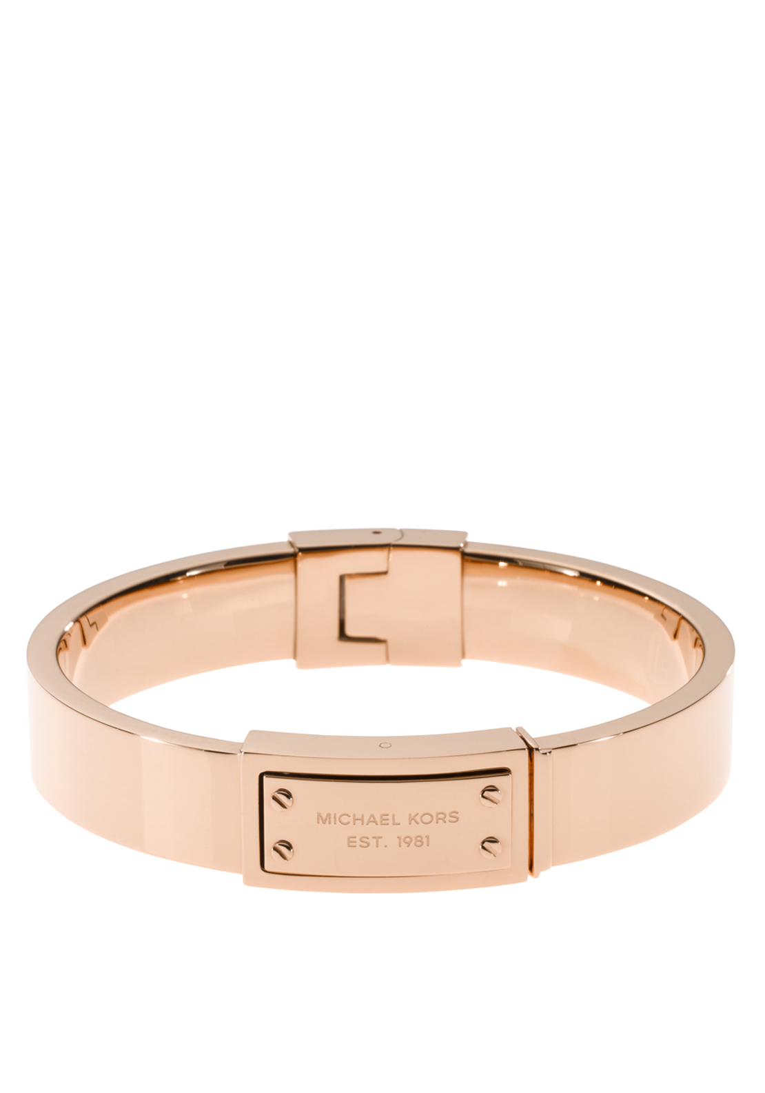 Michael Kors Womens Logo Plaque Hinge Bangle, Rose Gold