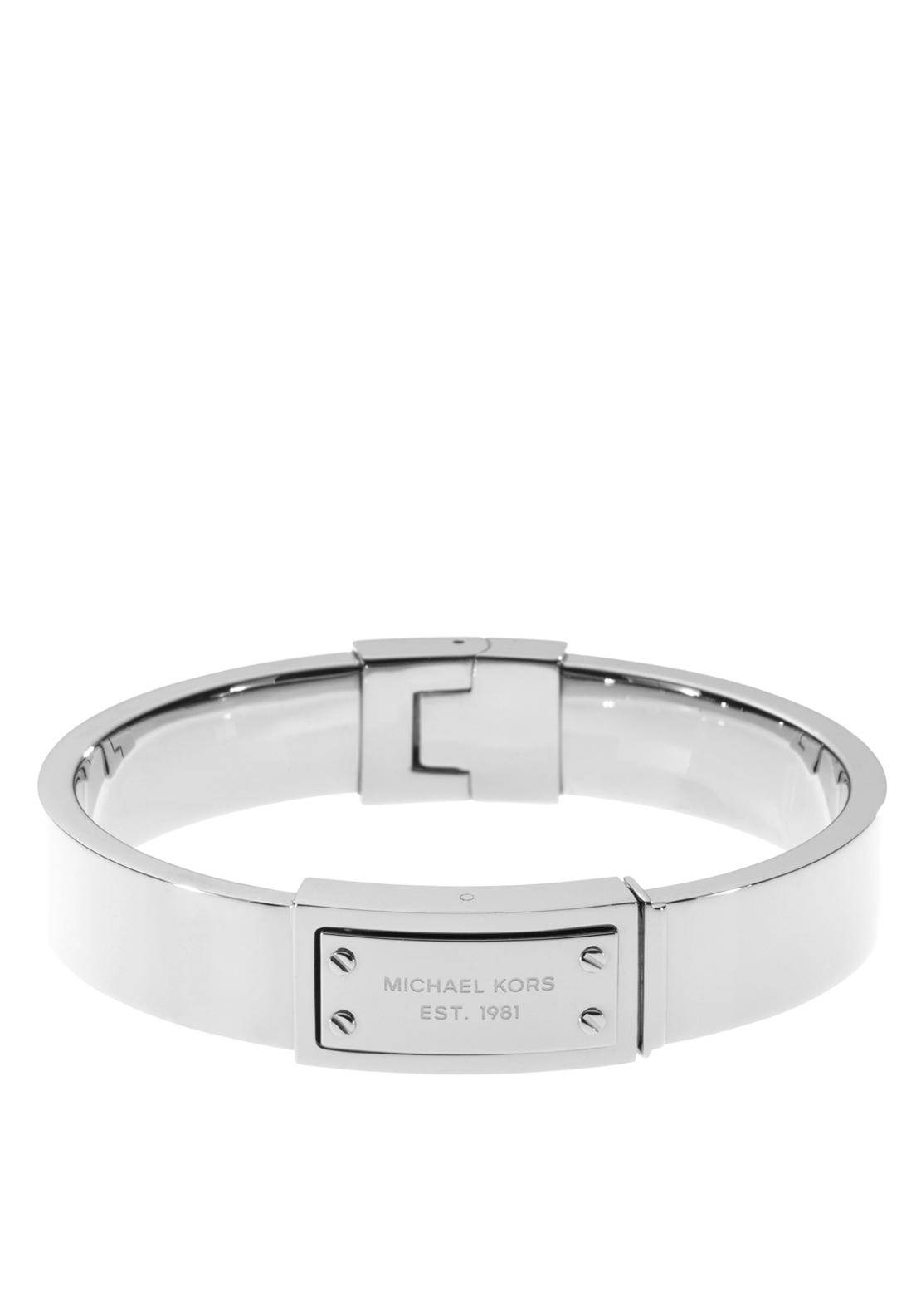 Michael Kors Womens Logo Plaque Hinge Bangle, Silver