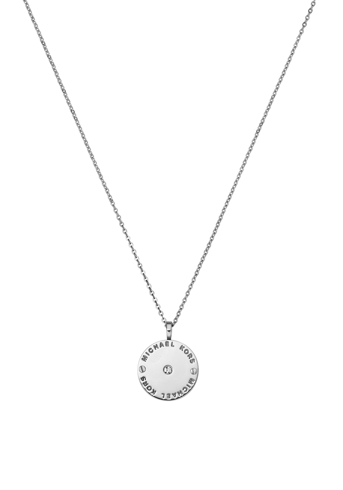 Michael Kors Womens Logo Disc Necklace, Silver