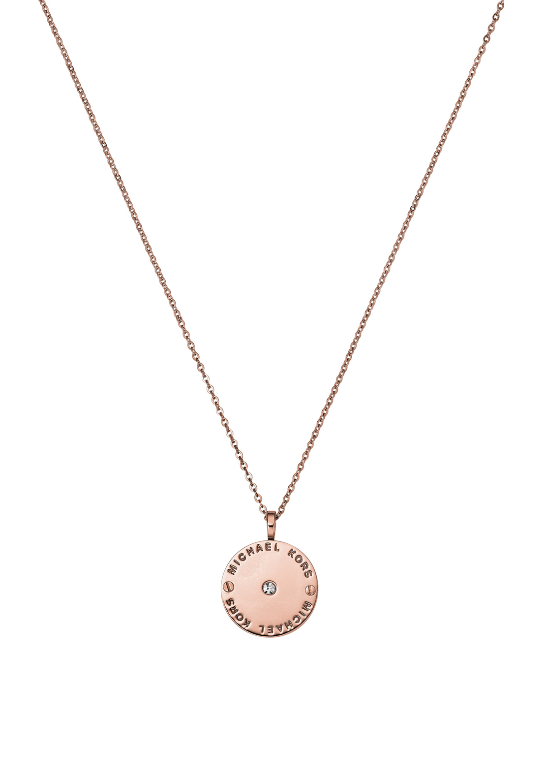 Michael Kors Womens Logo Disc Necklace, Rose Gold