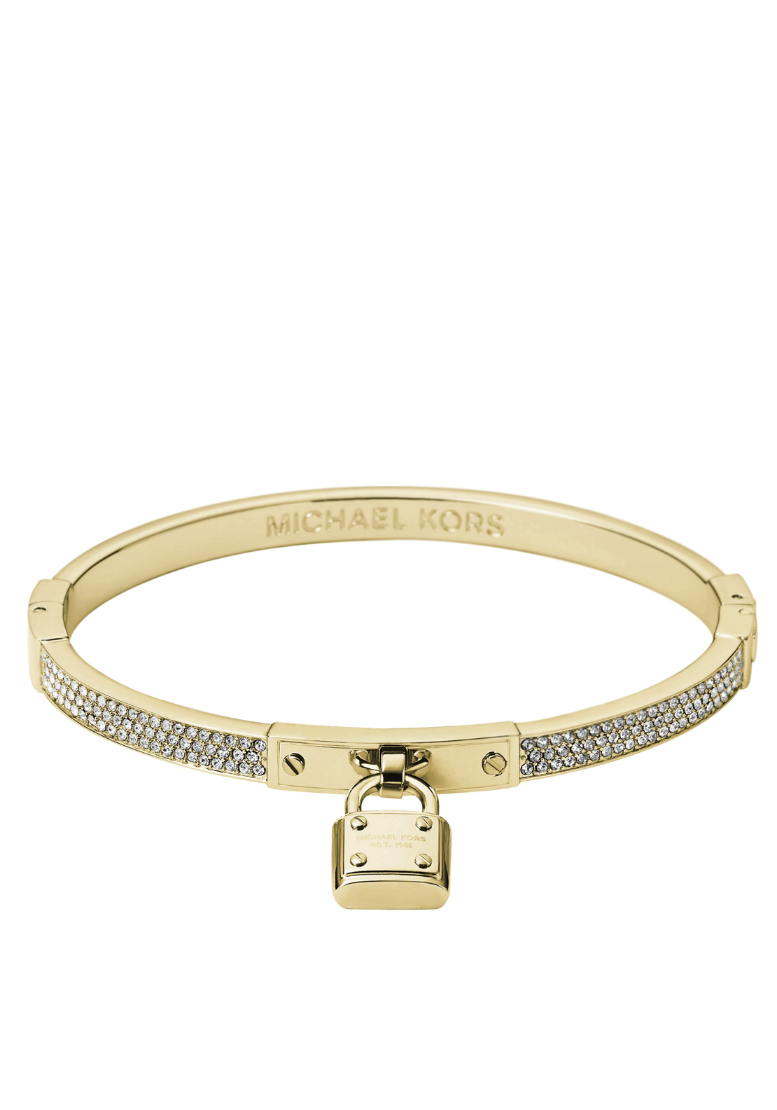 Michael Kors Womens Crystal Padlock Charm Bangle, Gold