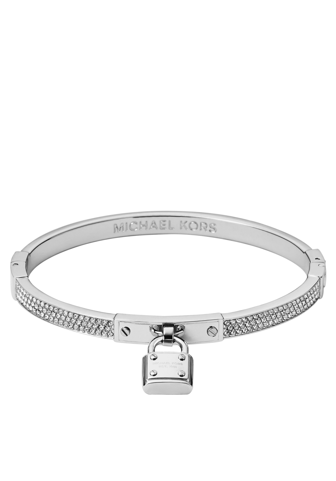 Michael Kors Womens Crystal Padlock Charm Bangle, Silver