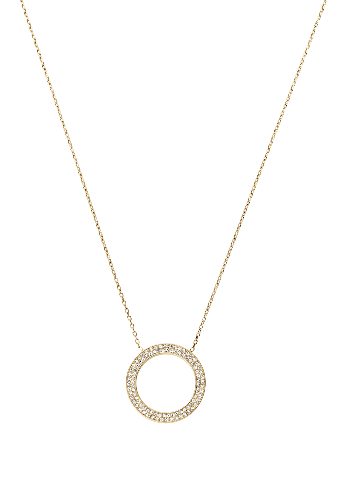Michael Kors Womens Pave Circle Necklace, Gold