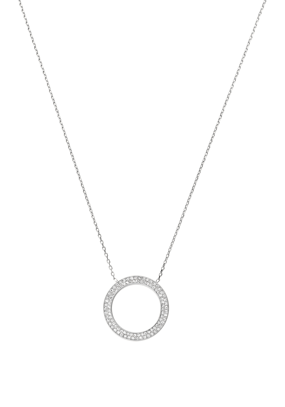 Michael Kors Womens Pave Circle Necklace, Silver