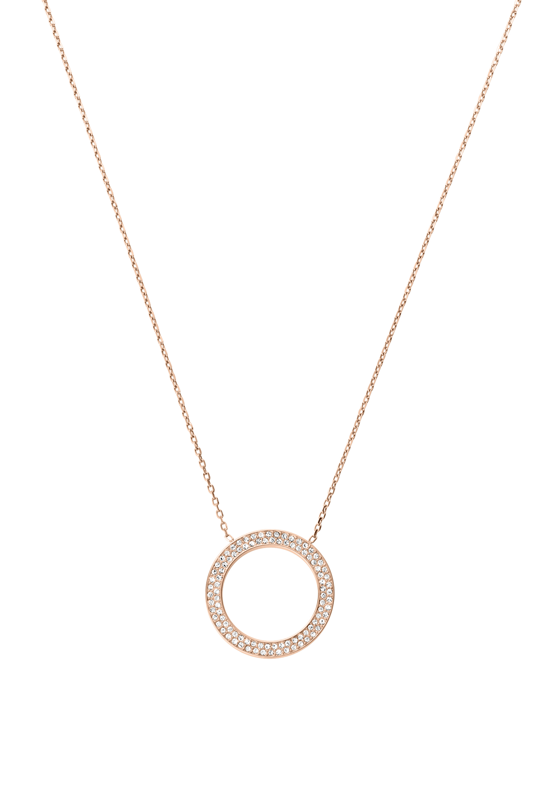 Michael Kors Womens Pave Circle Necklace, Rose Gold