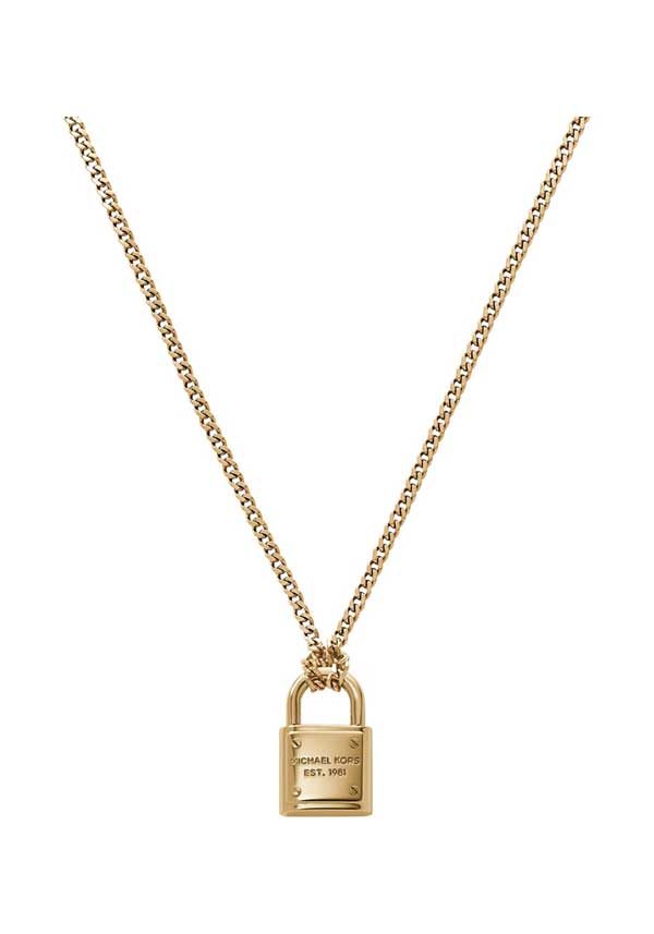Michael Kors Womens Padlock Necklace, Gold