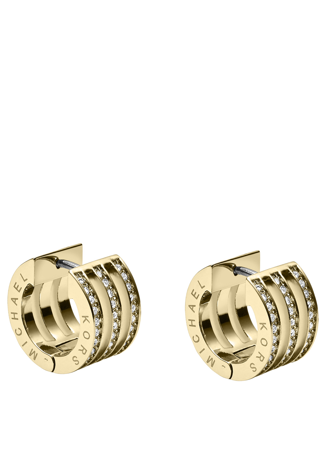 Michael Kors Womens Pave Bar Huggie Earrings, Gold