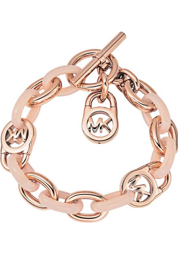 Michael Kors Womens Charm Bracelet, Rose Gold