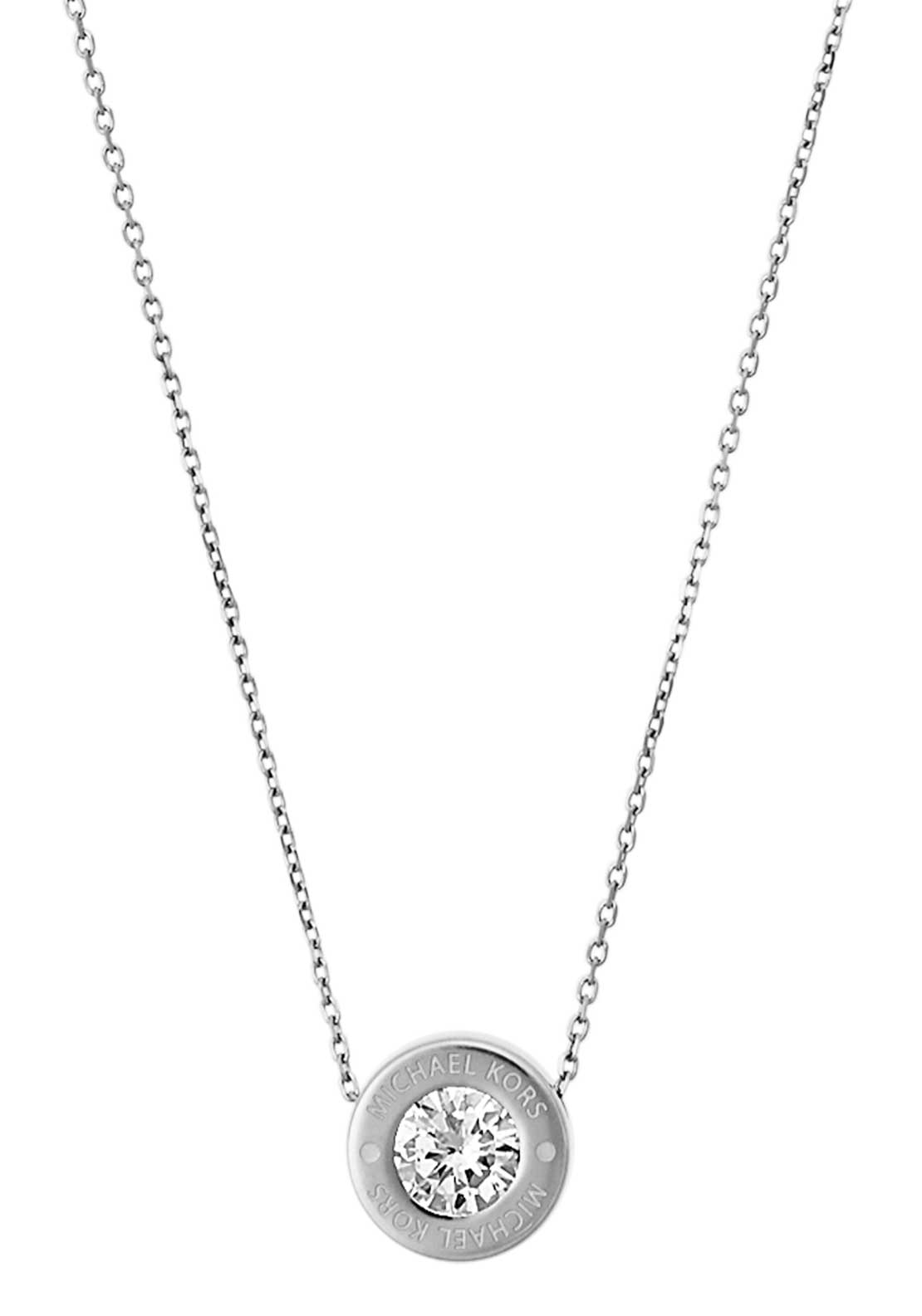 Michael Kors Womens Brilliance Diamante Stud Necklace, Silver