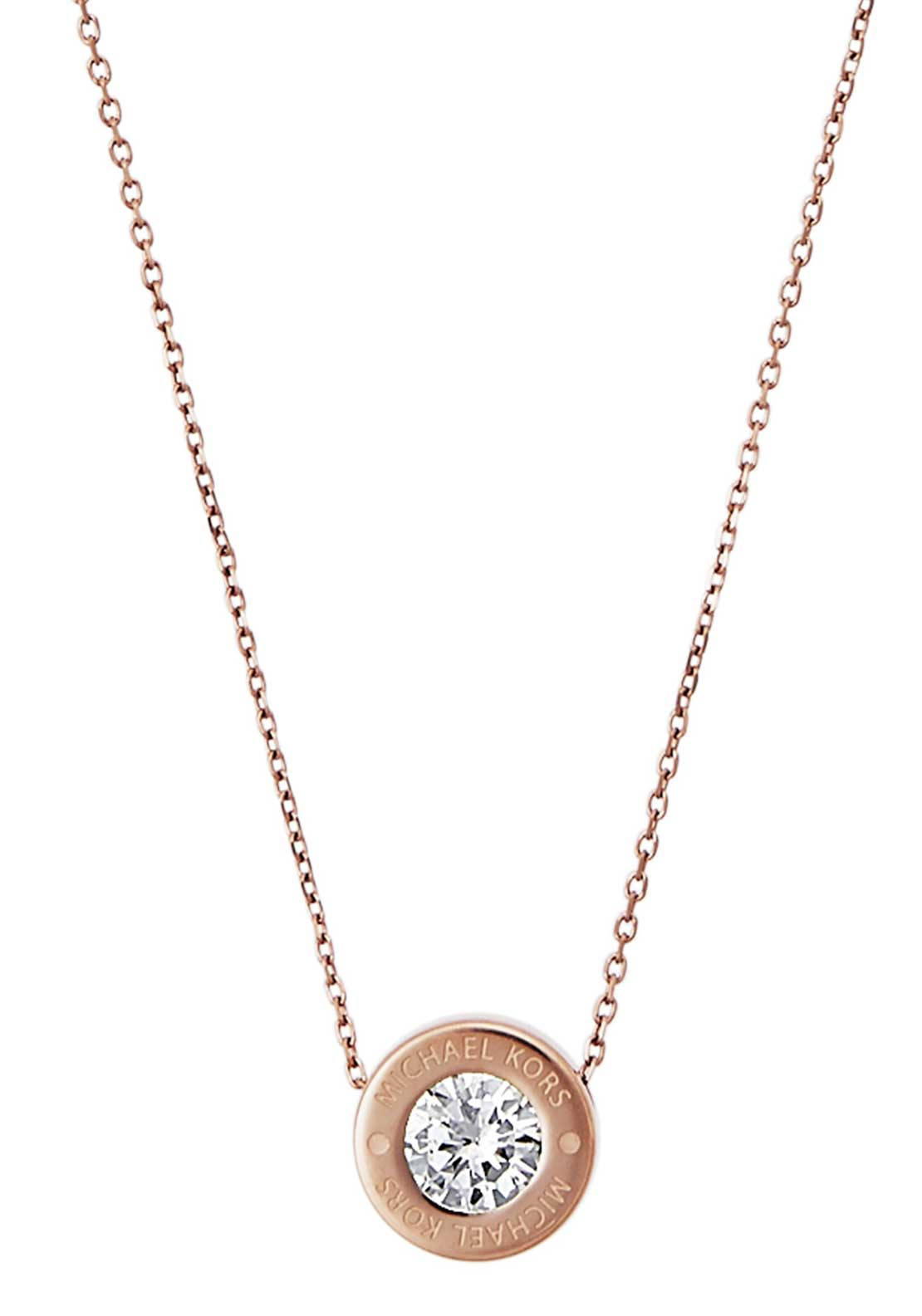 Michael Kors Womens Brilliance Diamante Stud Necklace, Rose Gold