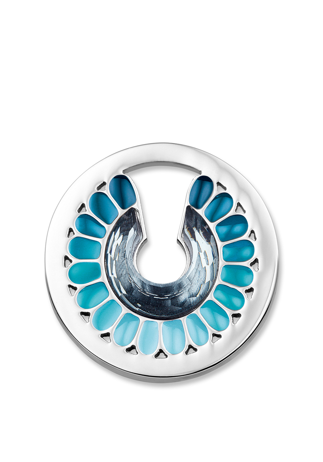 Mi Moneda Tropical Medium Silver Coin Pendant, Pacific Blue