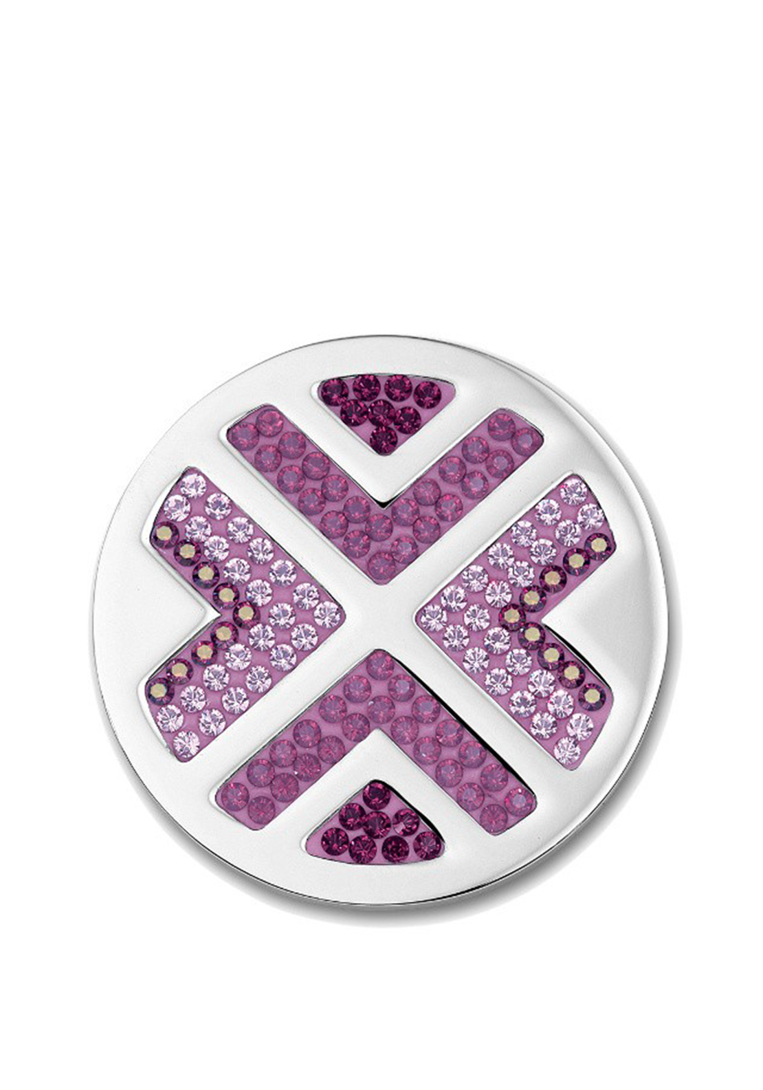Mi Moneda Rastro Large Silver Coin Pendant, Purple