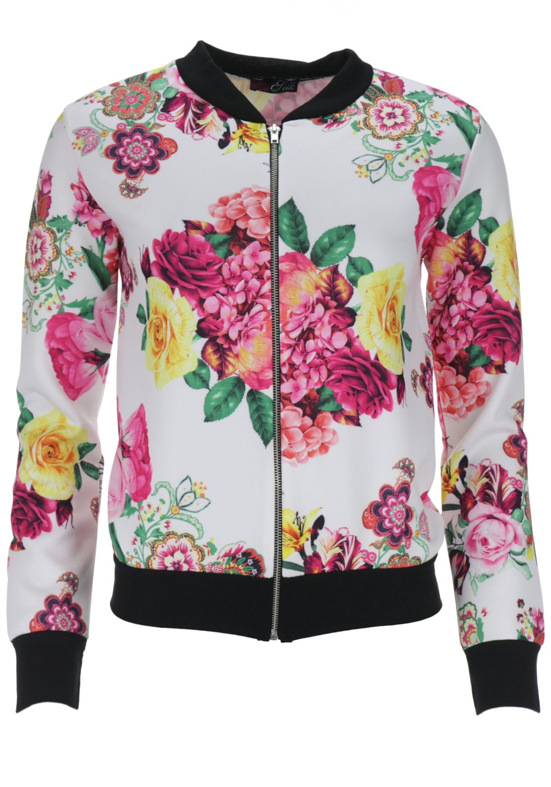 Boutique Graphic Print Bomber Jacket, White