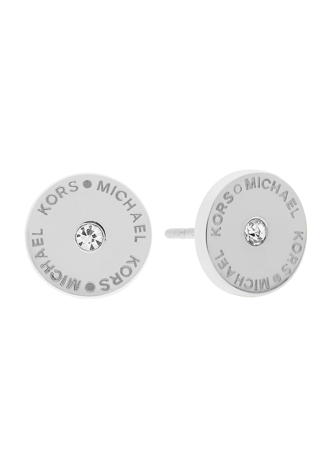 Michael Kors Stainless Steel Logo Stud Earrings, Sliver