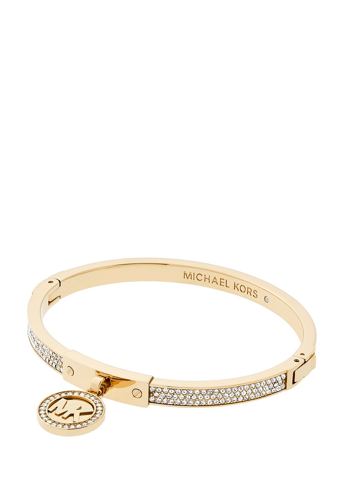 Michael Kors Fulton Pave Stone Charm Hinge Bangle, Gold