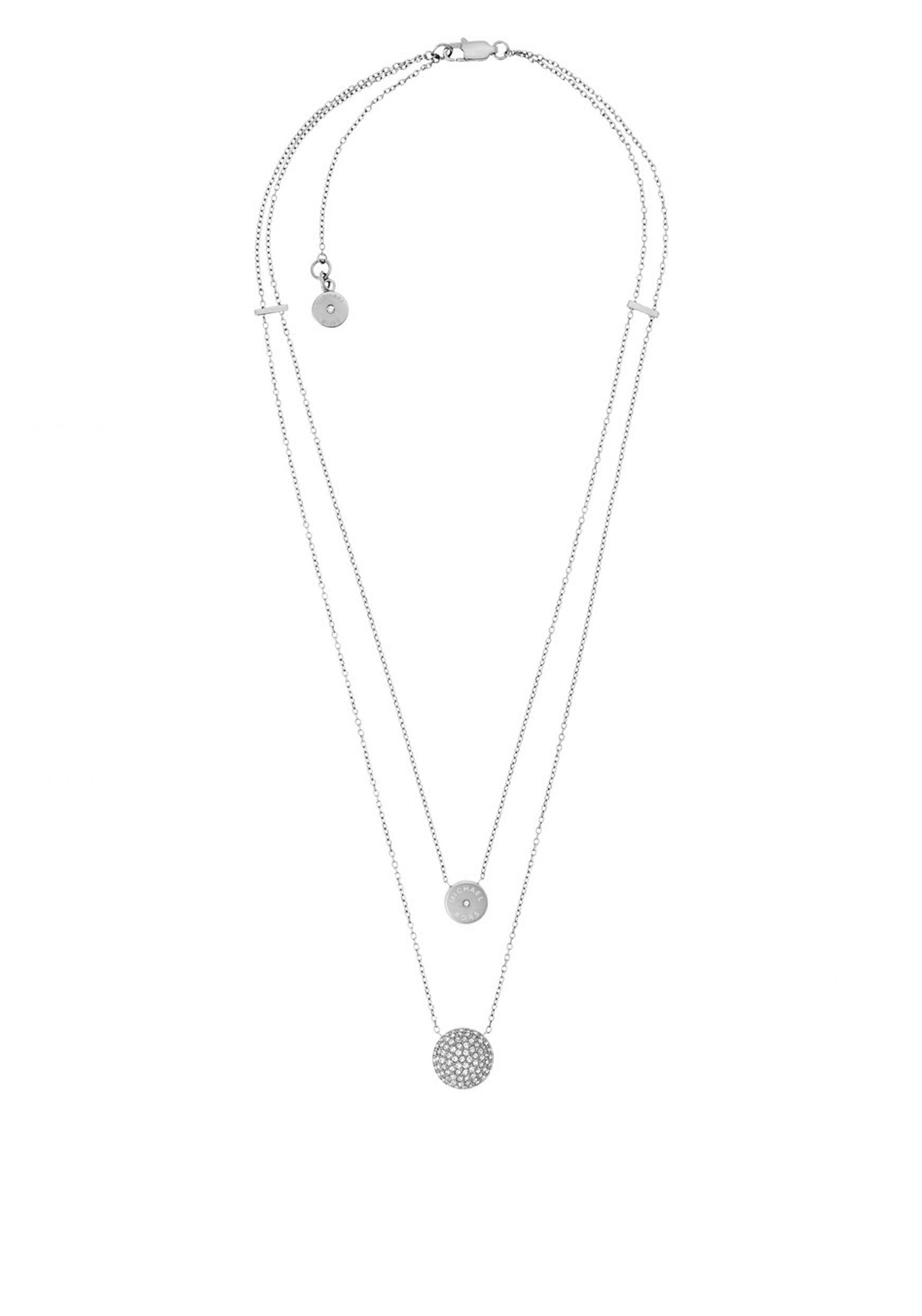 Michael Kors Two Layer Pendant Necklace, Silver
