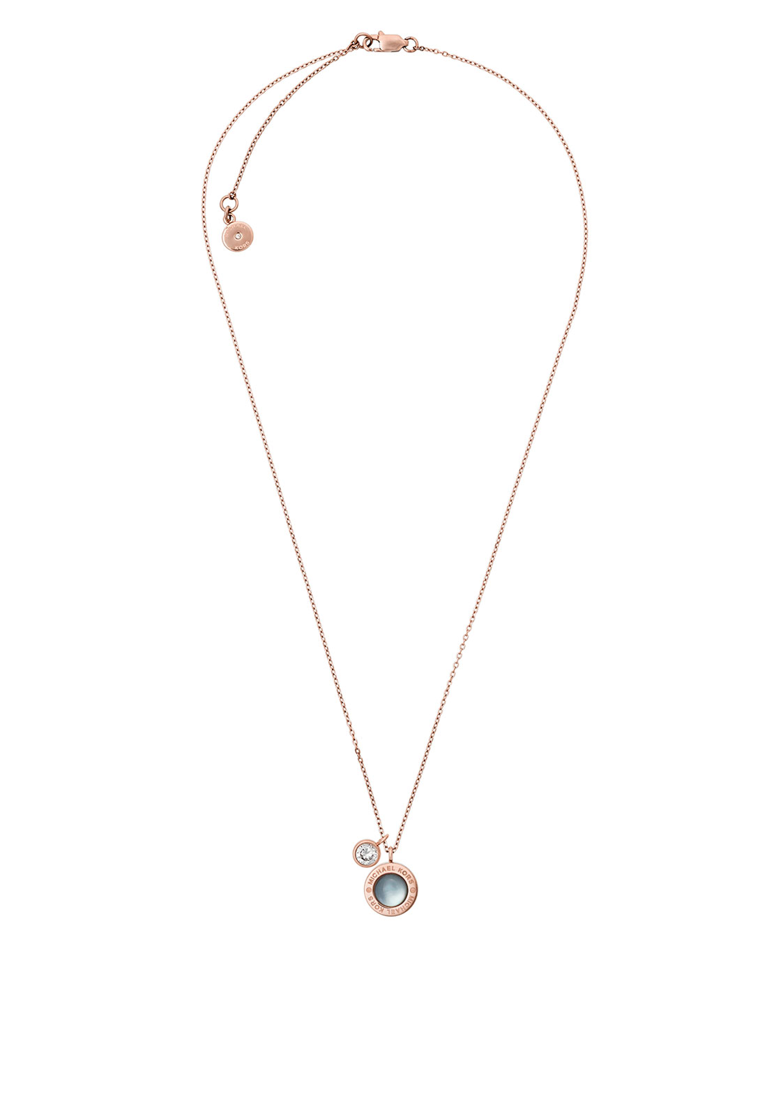 Michael Kors Logo Stone Set Necklace, Rose Gold