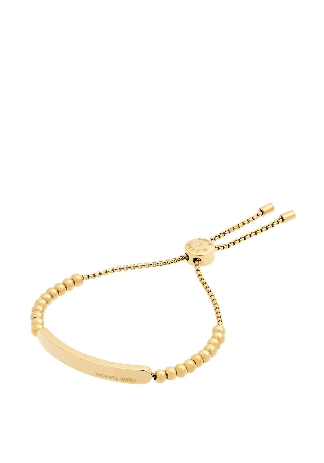 Michael Kors Logo Plague Beaded Toggle Bracelet, Gold