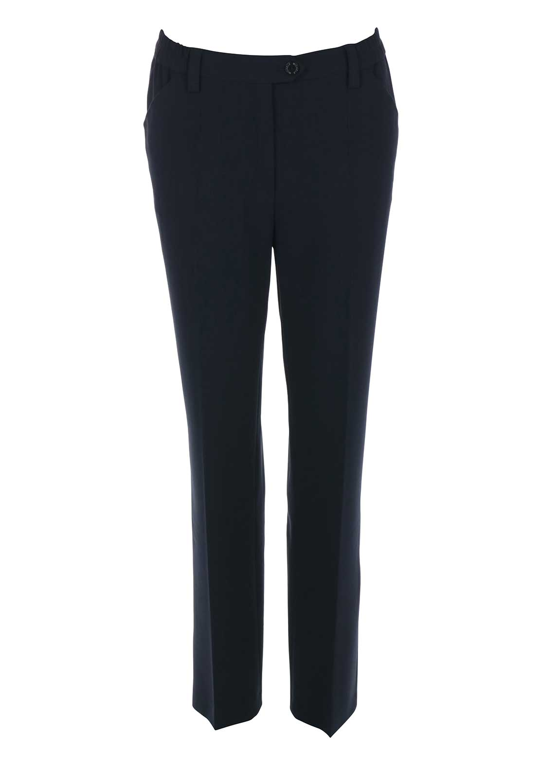 Michele Elasticated Waist Slim Leg Regular Length Trousers, Navy