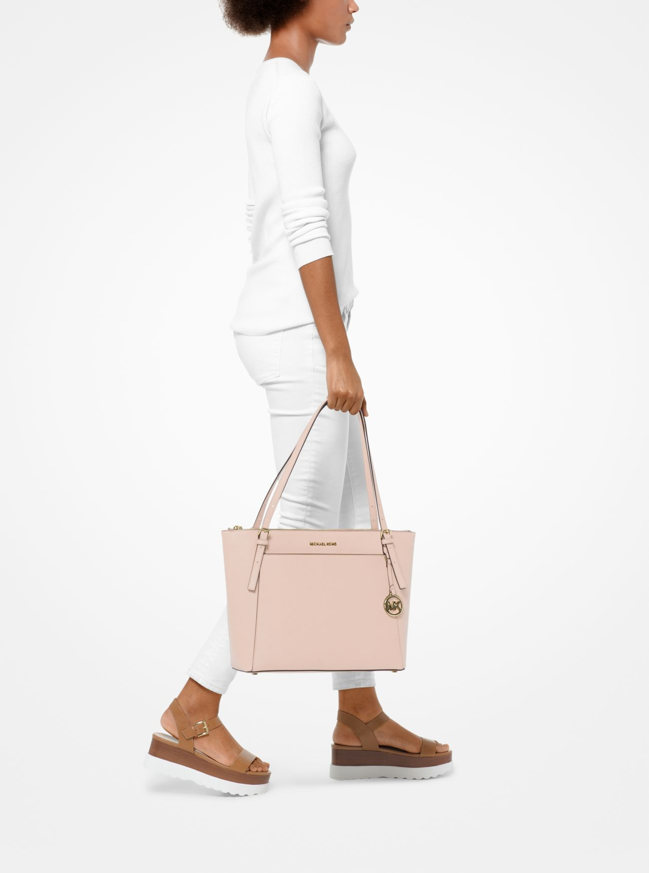 Michael Kors Voyager Large Saffiano Leather Top-Zip Tote Bag, Soft Pink