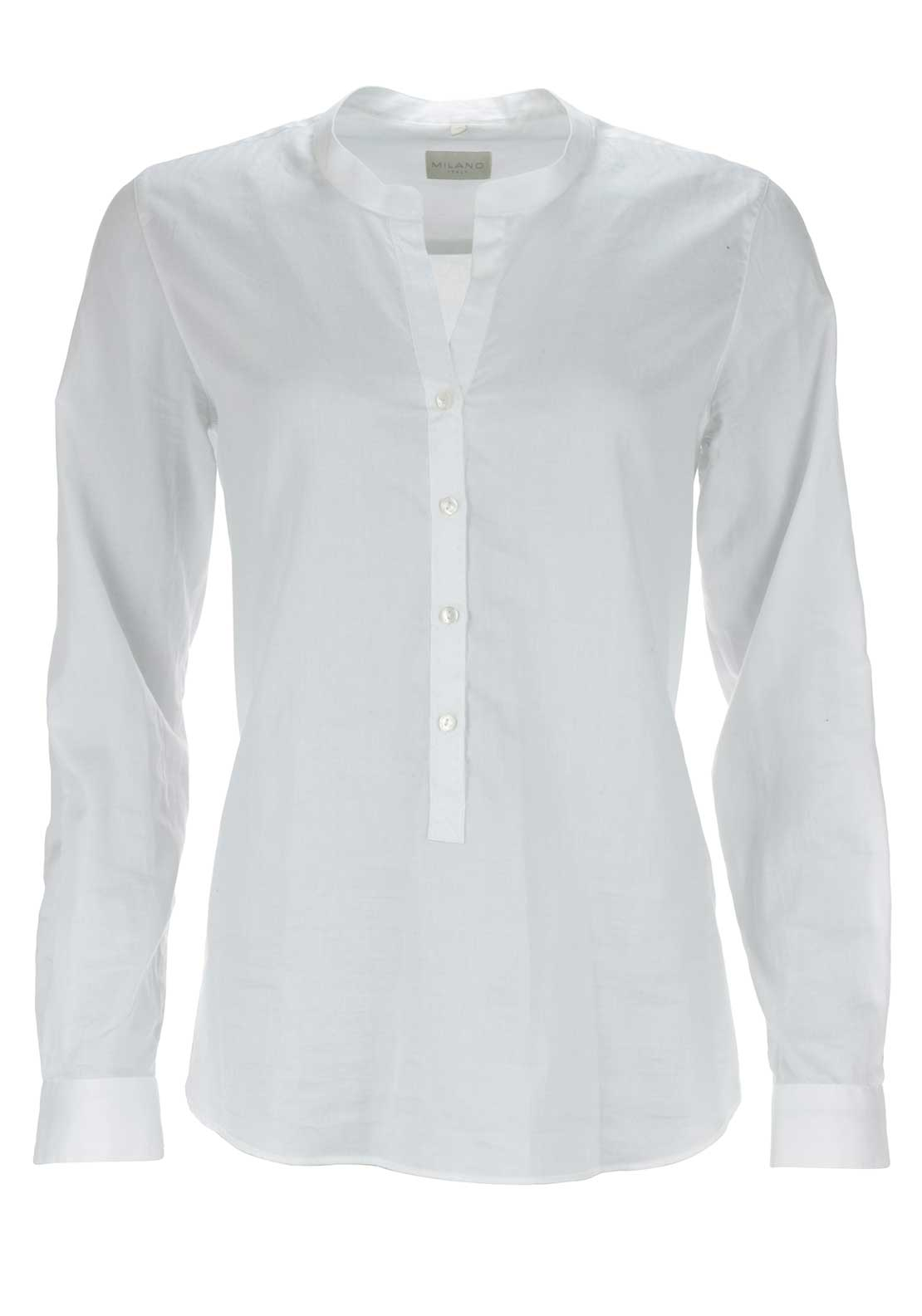 Milano Half Button Long Sleeve Blouse, White