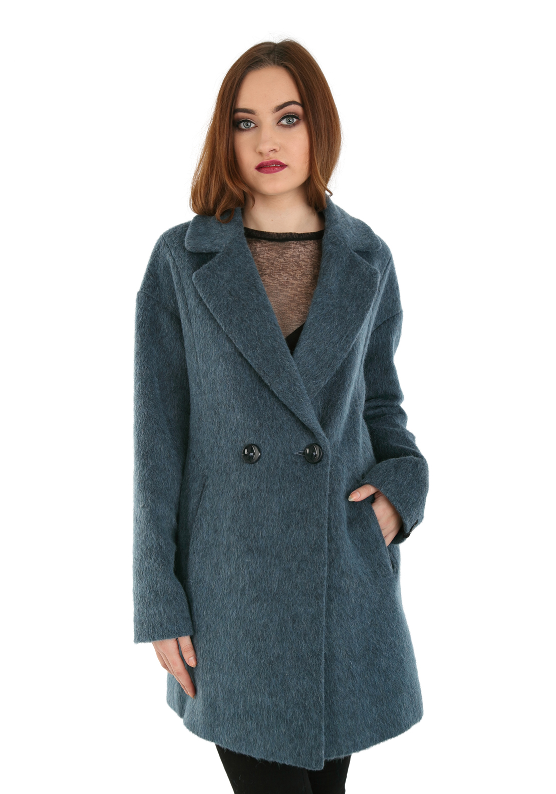 Milo Mohair Blend Wool Coat, Blue