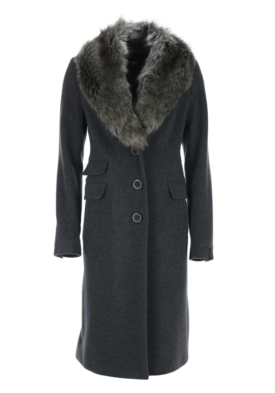 Milo Faux Fur Trim Wool Coat, Grey