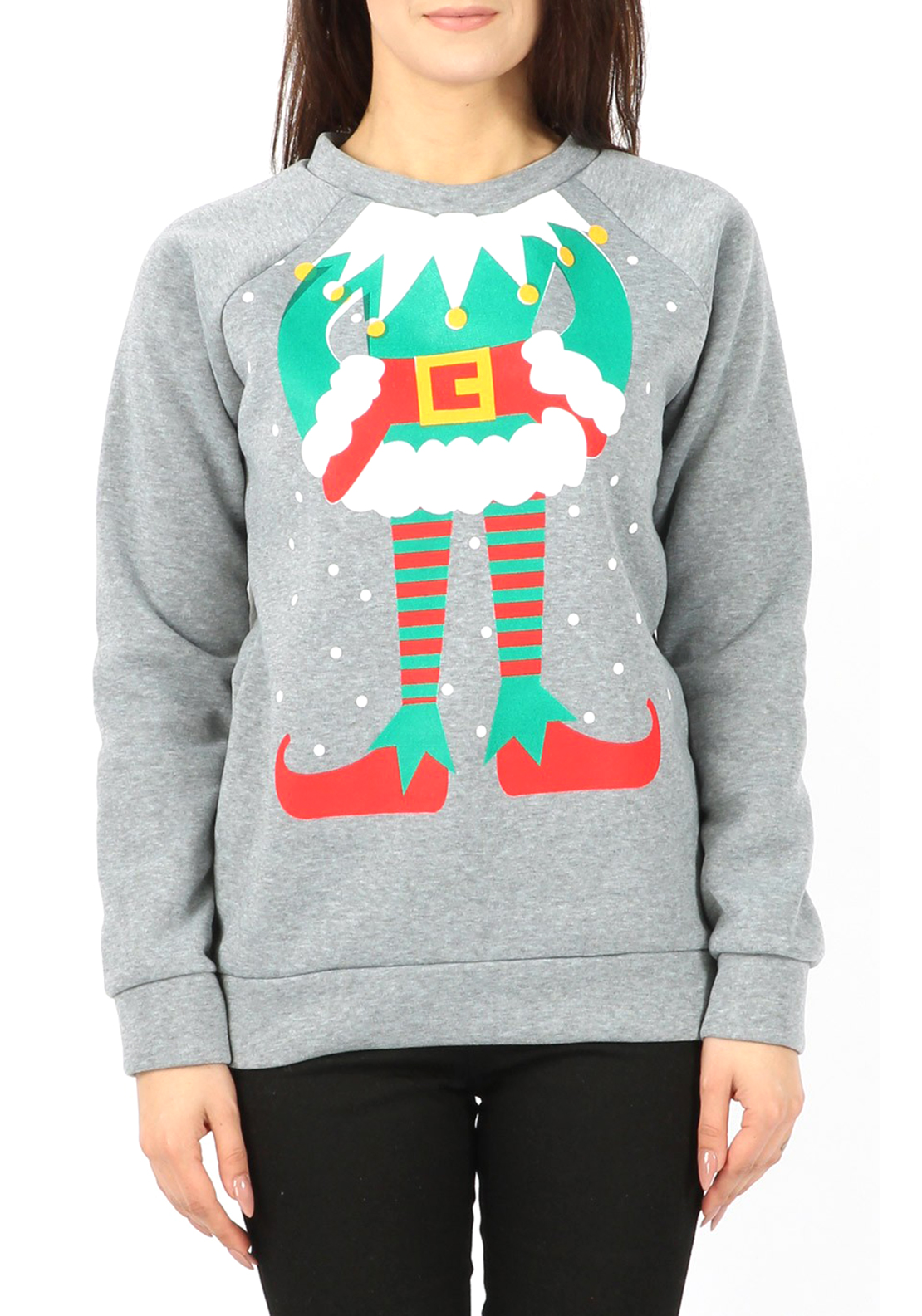 Boutique Christmas Elf Sweat Jumper, Grey