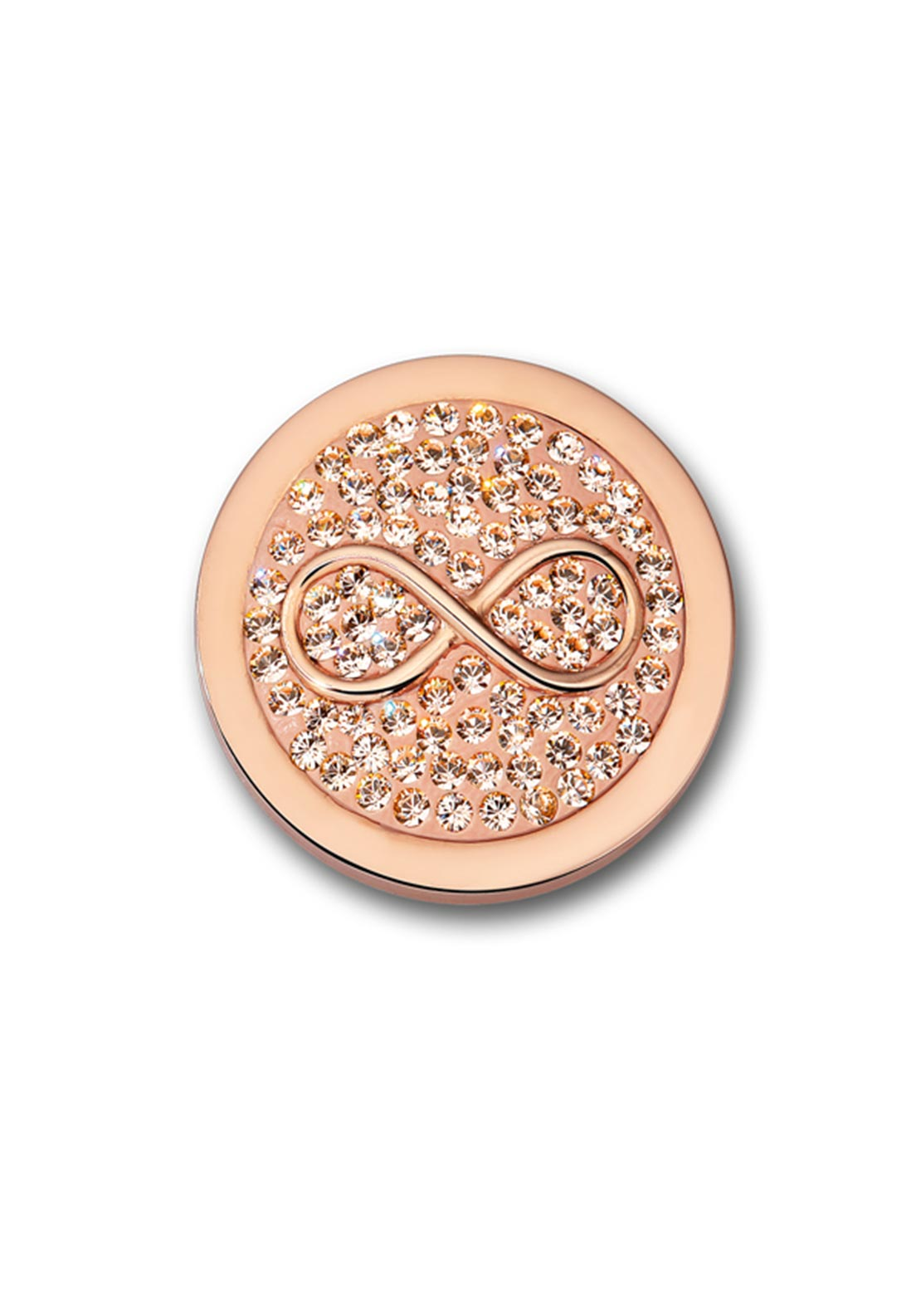 Mi Moneda Small Infinito Crystal Coin Pendant, Rose Gold