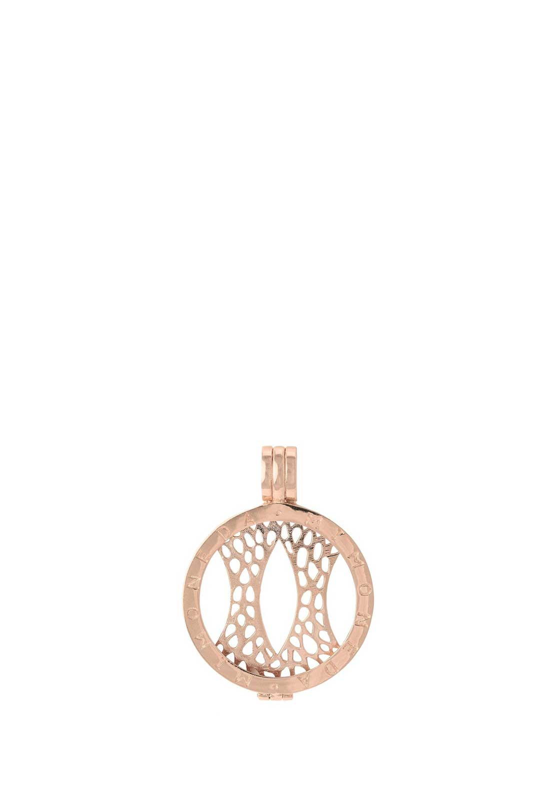 Mi Moneda Small Coin Pendant Holder, Rose Gold
