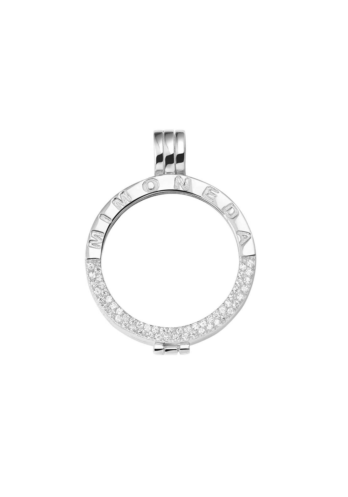 Mi Moneda Medium Crystal Pendant Holder, Silver
