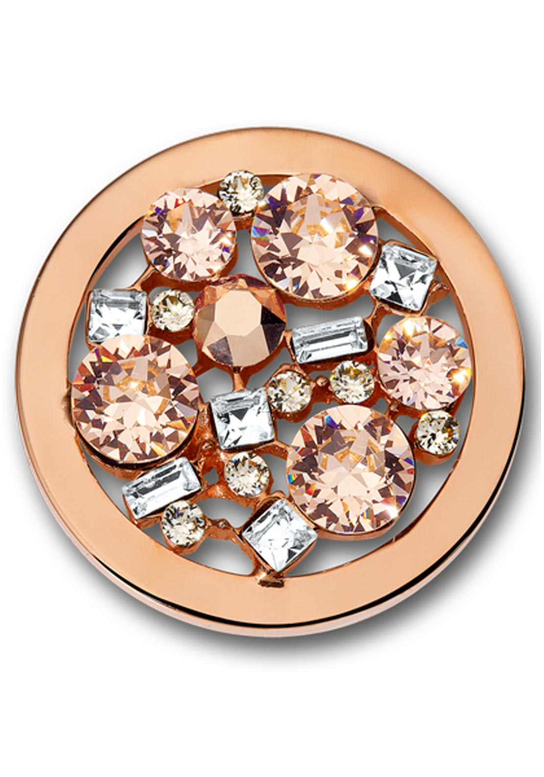 Mi Moneda Swaroski Libre Peach Medium Disc, Silver