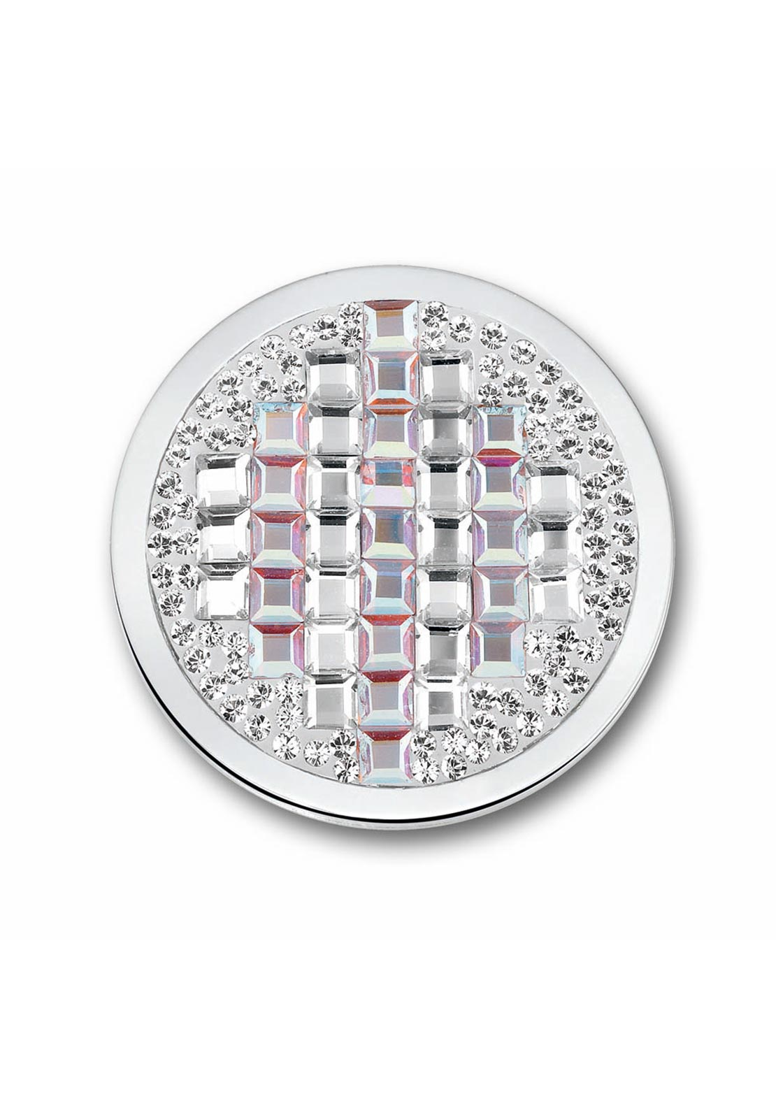 Mi Moneda Crystal Rumba Coin Pendant Large, Silver