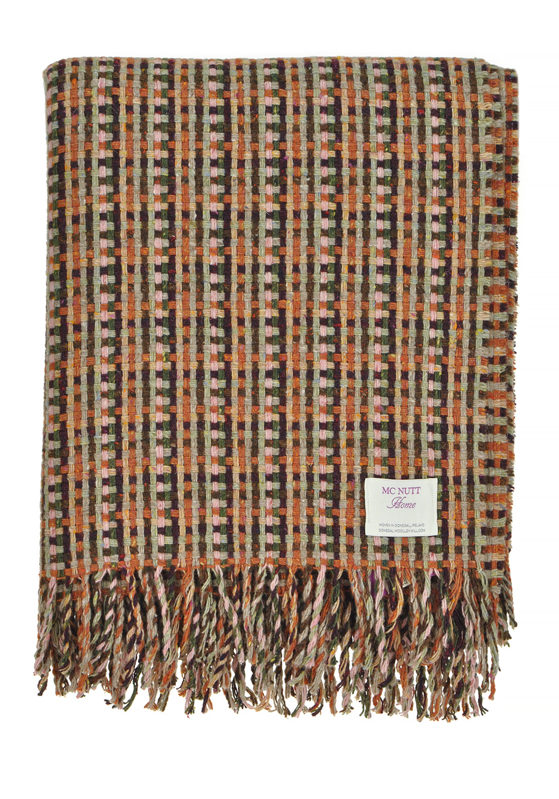 Mc Nutts Donegal Woollen Mill Autumn Throw Blanket, Brown