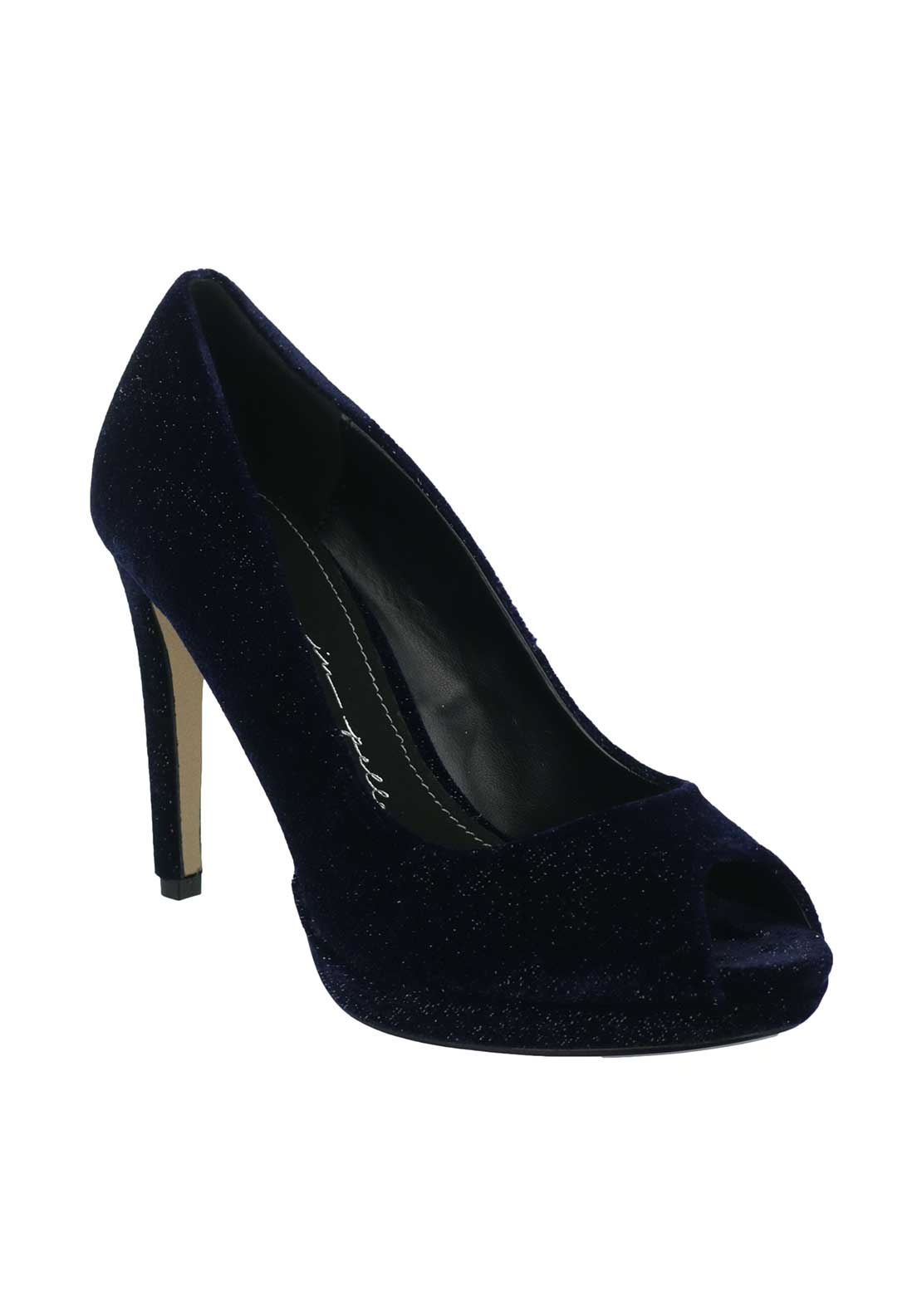 Moda in Pelle Kareen Velvet Heeled Shoes, Navy