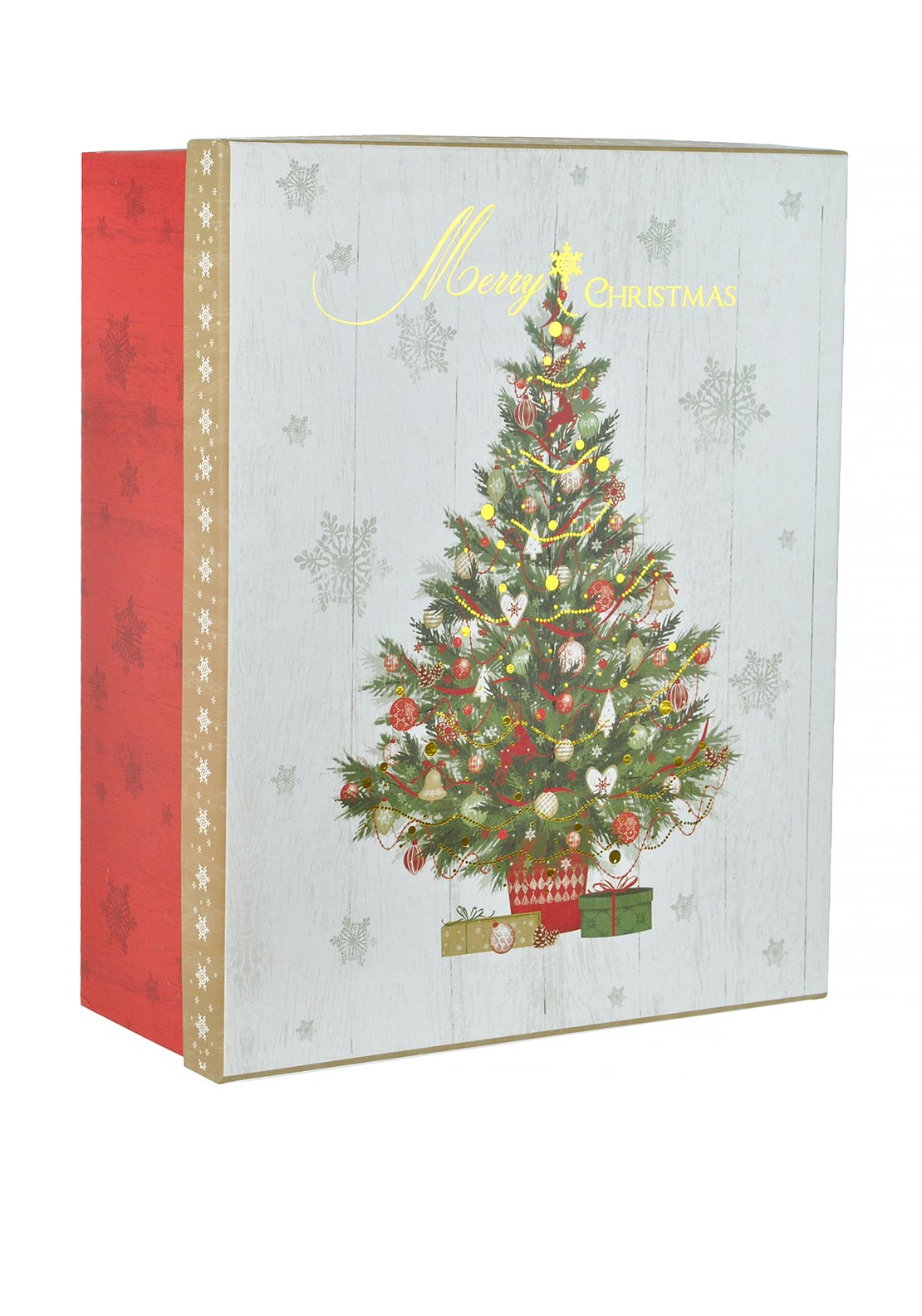 Festive Storage Box with Christmas Tree Print Large