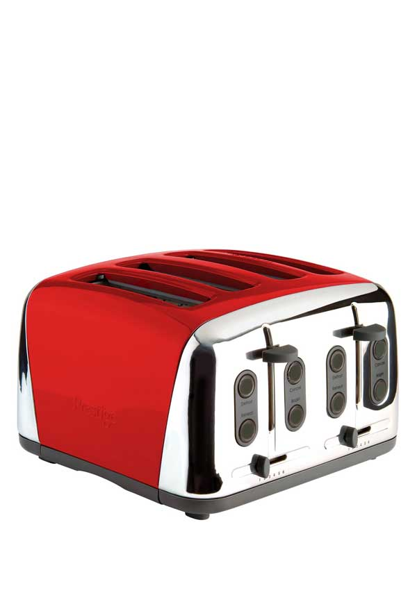 Prestige Deco 4 slice Toaster, Red