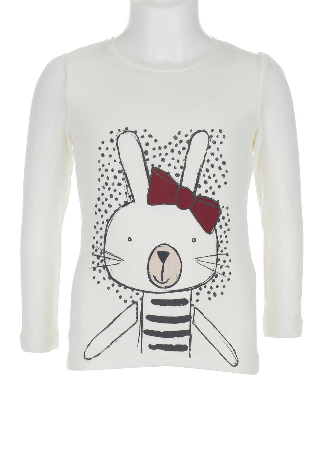 Name It Girls Lili Bunny Top, Off White