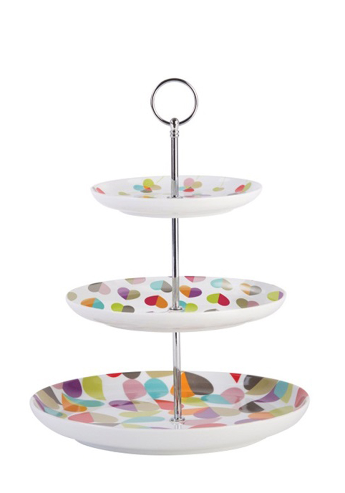 Beau & Elliot Broken Hearted Three Tier Cake Stand, Multi-Coloured