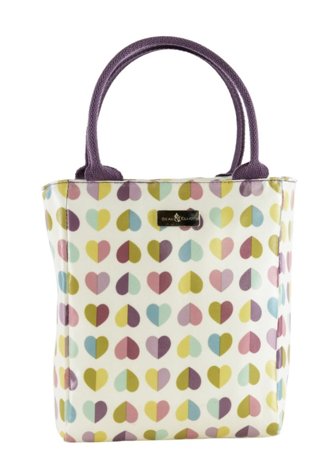 Beau & Elliot Vintage Confetti Heart Print Insulated Lunch Tote, Green Multi