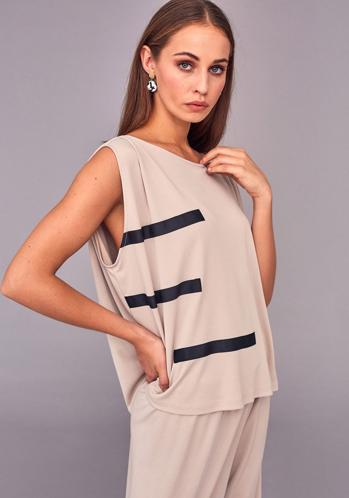 Naya Ribbon Trim Relaxed Fit Top, Stone